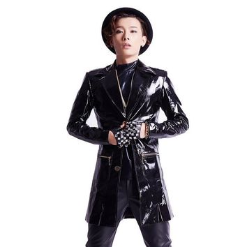 Nightclub dj Korean men's clothing patent leather jackets Plus Size coat bar rock men singer stage costumes Slim Casual Outwear