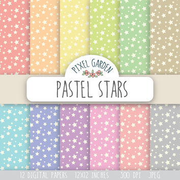 SALE -50% OFF. Pastel Stars Pattern Digital Paper Pack. Stars Scrapbooking Paper. Digital Collage Sheets. Star Pattern Background.