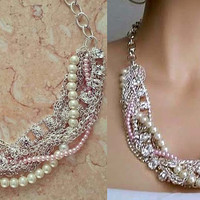 Chunky Rhinestone Necklace, Pink Pearl Necklace, Statement Bridesmaid Necklace, Pearl Wedding Necklace