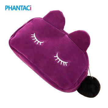 1 Pc Cartoon Cat Large Plush Pencil & Cosmetic Case 5 Colors