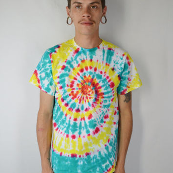Neon Tie Dye Shirt Men MED Hippie Soft Grunge Psychedelic Handmade Tie Dye Mens Womens Unisex Clothing T Shirt  Hipster Spiral Yellow