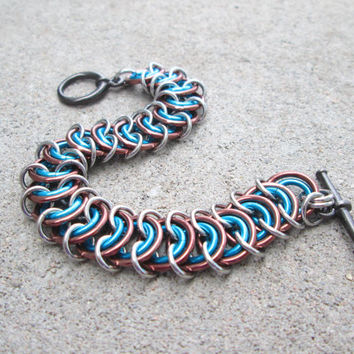 Chainmaille Jewelry, Toggle Bracelet, Chunky Bracelet Turquoise and Brown Bracelet Chain Mail Jewelry Chainmail Jewelry Chain Maille Jewelry