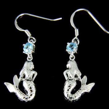 GENUINE BLUE TOPAZ SOLID 925 SILVER  HAWAIIAN MERMAID WIRE HOOK EARRINGS