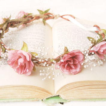 Flower Crown, Bridal Headpiece, Pink Roses, Baby's Breath, Floral Headband, Pink Ivory Wreath, Woodland Wedding Hair Accessories, Rustic,
