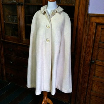 Vintage 1960s Winter White Cape Coat