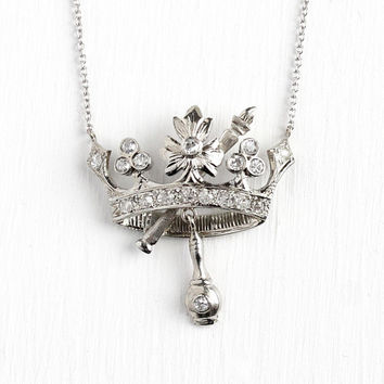 Diamond Crown Necklace - Vintage Art Deco 18k White Gold .54 CTW Single Cut Pendant - Queen Royal Tiara Fine Brooch Conversion Charm Jewelry