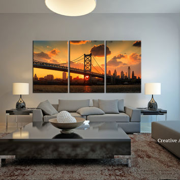 Extra Large Wall Art - Panorama Philadelphia Cityscape Canvas Print,  Philadelphia Sunset  Canvas Print, Ben Franklin Bridge Canvas Print