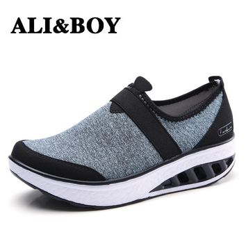 Slimming shoes Summer Women Sport Walking Height Increasing fitness sneakers Women Loafers Breathable Print Swing wedges shoes