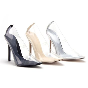 Women's Cinderella Transparent Clear Lucite Pumps Stiletto Heels Shoes