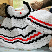 Baby crochet dress baby beanie hat white black red hand made baby girl clothes new baby layette baby shower gift 3 to 9 months OOAK