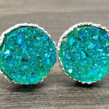 Ab Aqua green faux druzy in Crown stud earrings (you pick setting tone)