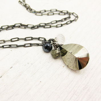 Pyrite Oxidized Necklace in Solid Sterling Silver w/ by byjodi