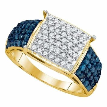 10kt Yellow Gold Women's Round Blue Color Enhanced Diamond Rectangle Cluster Ring 1.00 Cttw - FREE Shipping (USA/CAN)