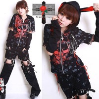 BUNNY Ears Jrock Hell KITTEN Rock ME Visual Kei String EMO 2 Way Parka Jacket