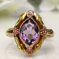 Art Deco Engagement Ring OB Ostby Barton Historical Ring Amethyst Antique Engagement Ring 10K Yellow Rose & Green Gold Floral Ring Size 7