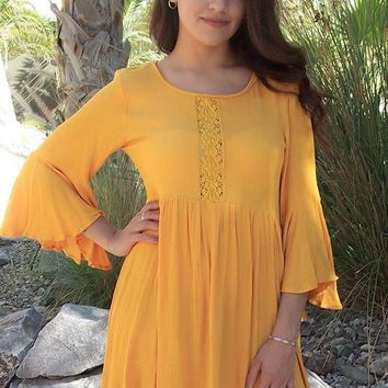 Can't Stop Staring Yellow Flounce Sleeve Shift Dress