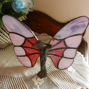 Art nouveau sculpture butterfly lady fairy stained glass,  handmade OOAK unique gift