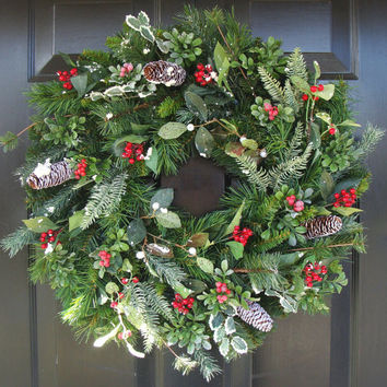 Winter Wonderland Christmas Wreath- Christmas Decor- Holiday Wreath- Berry Winter Wreath