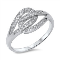 925 Sterling Silver CZ Simulated Diamond Promise Knot Ring 11MM