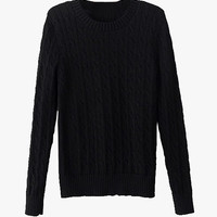 Black Knitted Soft Cropped Sweater