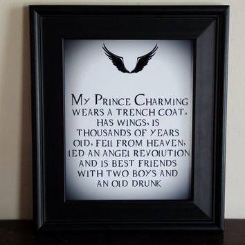 Supernatural My Prince Charming Fallen Angel Typography Print. 8x10 Art Print.