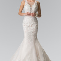 Elizabeth K Illusion V-Neck Mermaid Style Lace Wedding Dress GL2369
