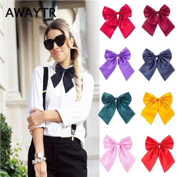 AWAYTR 1 Pcs Women Cravat Red Black Butterfly Women's Bow Tie Female Girl Student Hotel Clerk Waitress Neck Wear Silk Ties