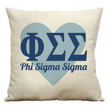 Phi Sigma Sigma Heart Natural Cotton Cotton Canvas Sorority Pillow