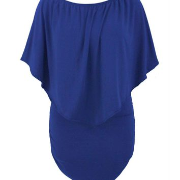 Streetstyle  Casual Cape Sleeve Multi-Way Plain Plus Size Bodycon Dress