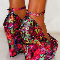 LADIES PINK PATTERN MULTICOLOURED SATIN BOW WEDGES HIGH HEELS PLATFORMS SHOES