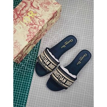 Christian Dior Dway Embroidered Cotton Mule Sandals Blue
