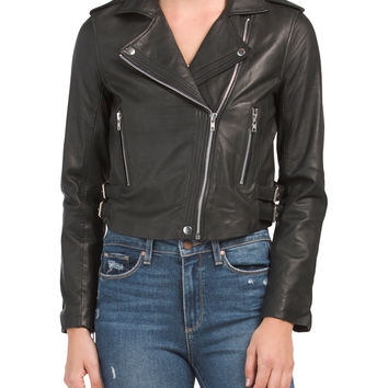 Leather Biker Jacket - Leather & Faux Leather - T.J.Maxx