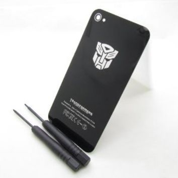 TONYYAN Transformers Autobots or Decepticons Replacement Glass Back Battery Cover Housing With Frame for iPhone 4s ATT Verizon (fit all iphone 4s, Autobots black)