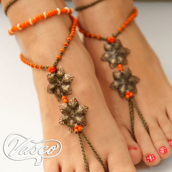 Barefoot Sandal, Orange Boho Barefoot Sandals, Gypsy, Bellydance, Beaded Barefoot Sandals, Anklet Hippie Shoes