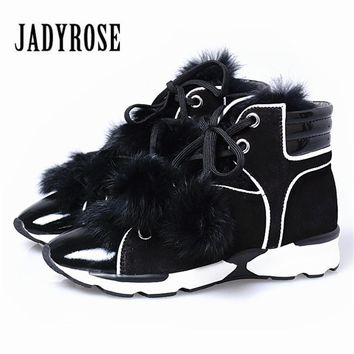 Jady Rose Luxury Rabbit Fur Winter Warm Ankle Boots Leisure Patchwork Lace Up Snow Boots Women Casual Platform Shoes Creepers