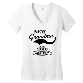 New Grandma 2018 Rokie Dept. Women's V-Neck T-Shirt