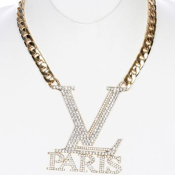 Clear Pave Crystal Stone Paris Chunky Bib Necklace