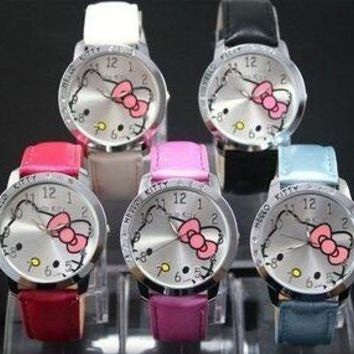 Hot Sale Fashion Cute Hello Kitty Watches Children Girls Women Crystal Dress Quartz Wristwatch Mix Color