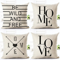 Black And White Style Decorative Cushions Simple Word Style Printed Throw Pillows Car Home Decor Cushion Decor Almofadas Cojines