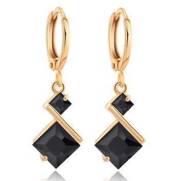 Stylish Square Zircon Earrings    gold plated black zircon