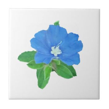 Blue Clematis Ceramic Tile