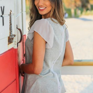 Gray Ribbed Top with Button Up Back Detail
