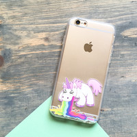 Puking Unicorn - Clear TPU Case Cover