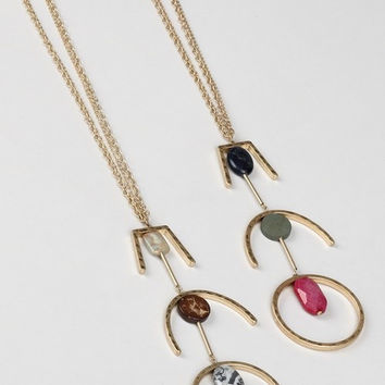 Three Tier Natural Stone Pendant Necklace ( + Colors )