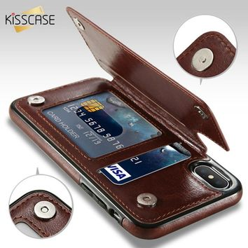 KISSCASE Retro PU Leather Case For iPhone X 6 6s 7 8 Plus XS 5S 6d3c66ae11