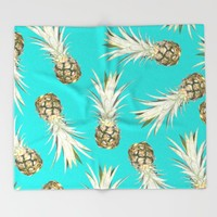 Pineapple Jam Turquoise Throw Blanket by Lisa Argyropoulos | Society6