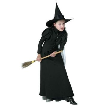 ESBON Deluxe Child New Proper Style Witch Costume High Quality Sorceress Fancy Dress For Spooky Halloween Parties