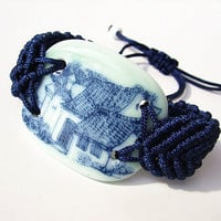 Handmade Adjustable China-piece Bracelet, Hand-braided Broken China Bracelet,Blue Wristband with Ceramic Piece of ancient house scenery