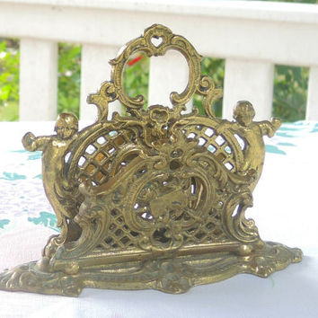 Antique Bradley and Hubbard Brass Letter Holder Ornate Cherubs Napkin Holder Elegant French Rococo Home Decor