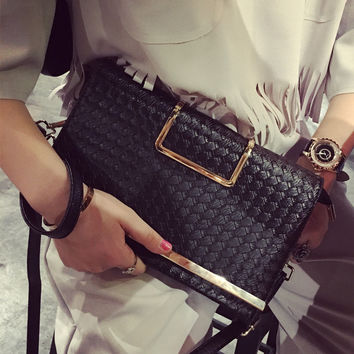 Socialite Women Day Evening Clutch Bags PU Leather Women Messenger Bags Hand Woven Envelope Bag Multifunctional Clutches Handbag